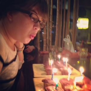 Here I am blowing my germs onto my favorite people's cupcakes at a Thai place on my 22nd birthday.