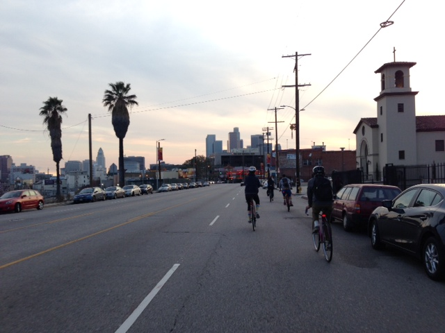 biking in LA