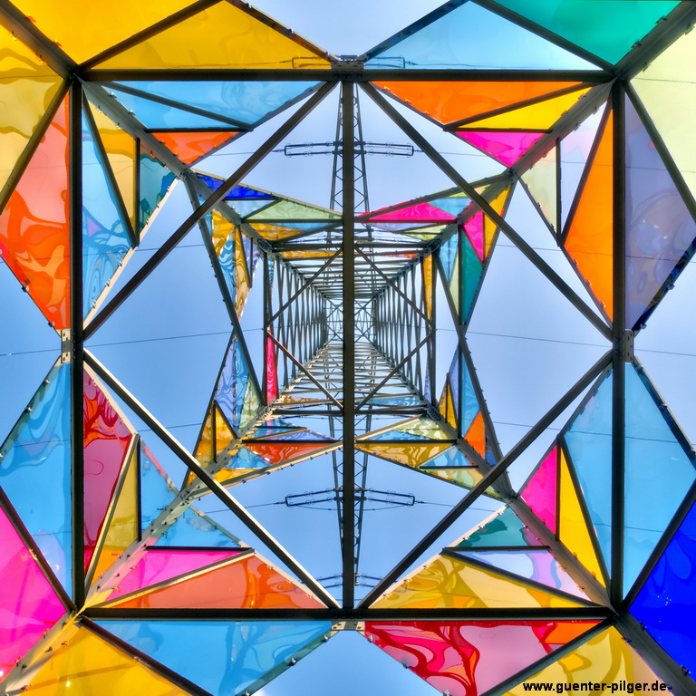 stained glass electrical tower
