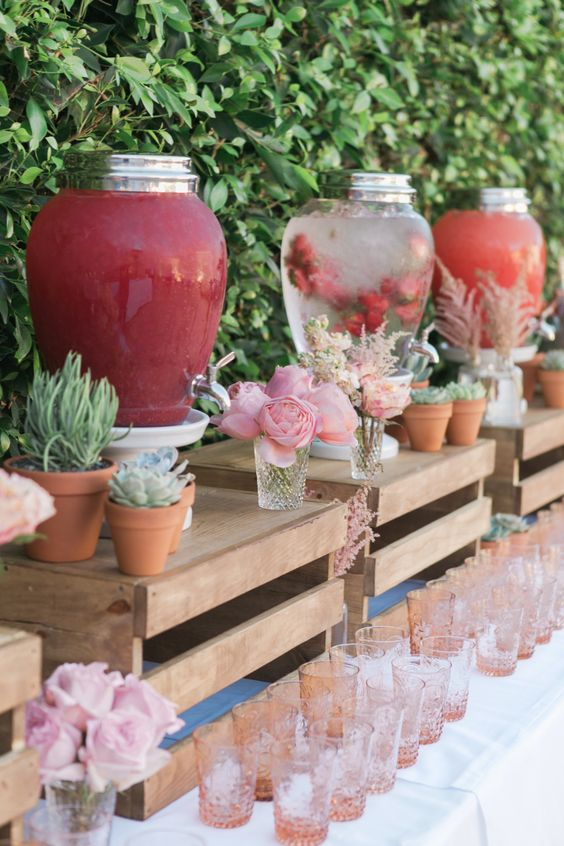 country-wedding-drink-station-decor