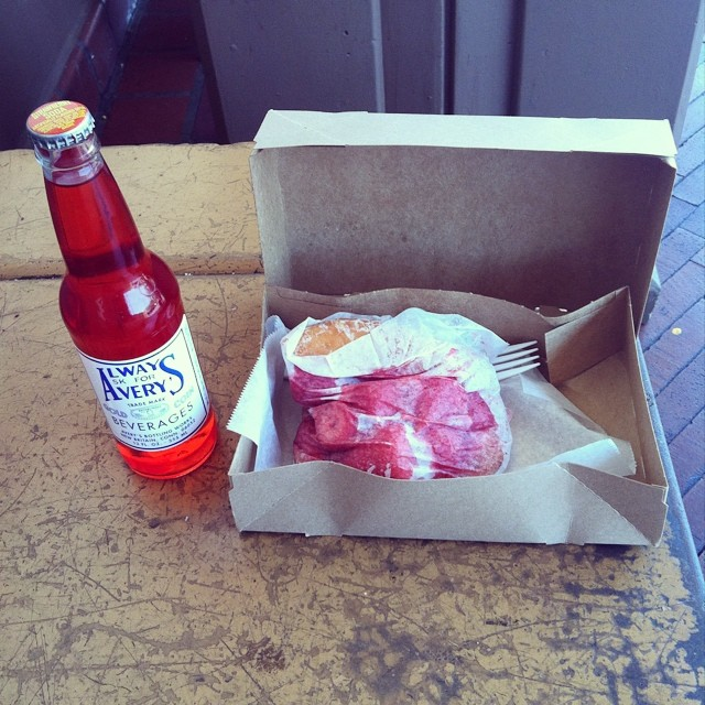 strawberry soda and doughnut