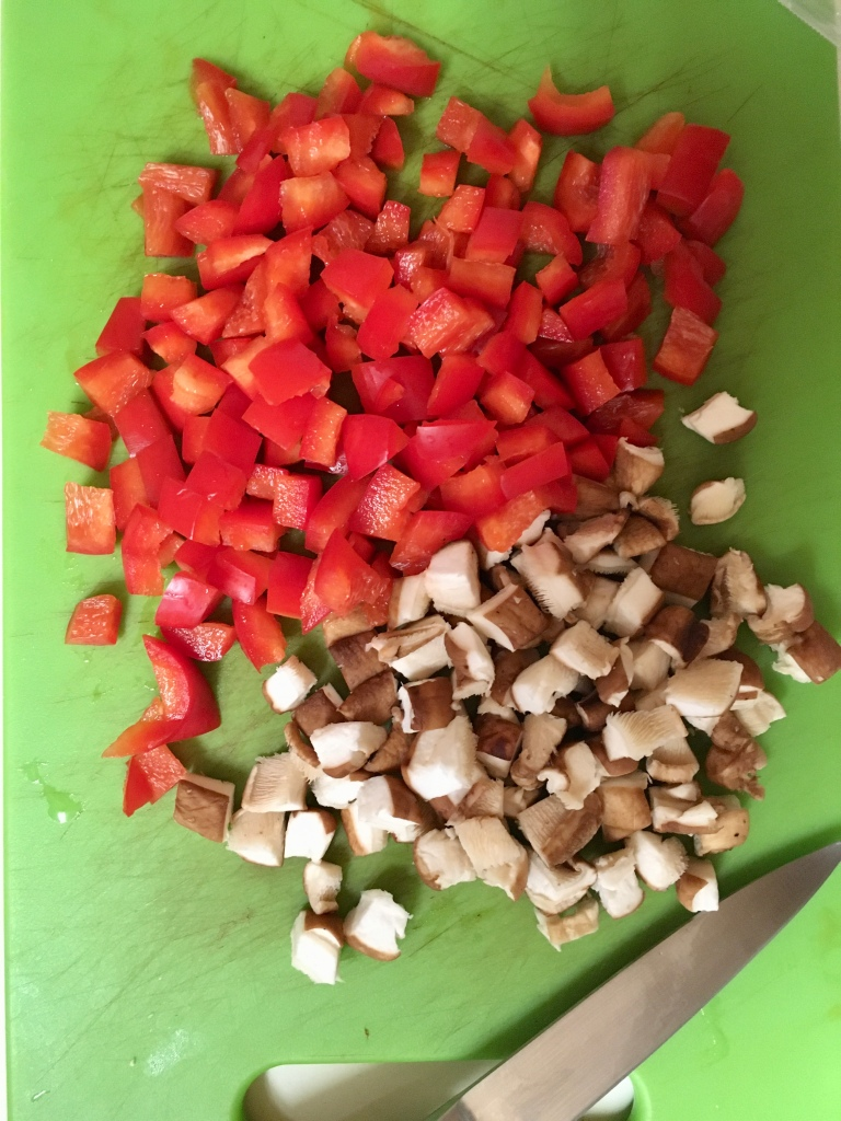 Diced bell pepper and mushrooms