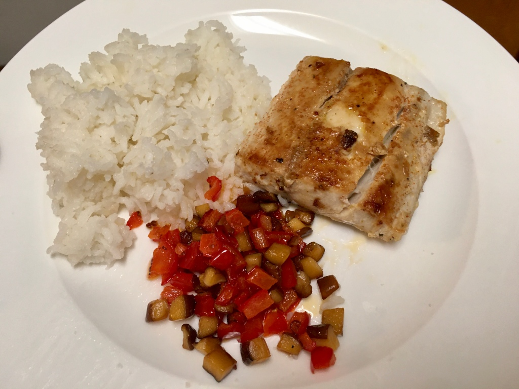 Mahi-mahi with sautéed vegetables